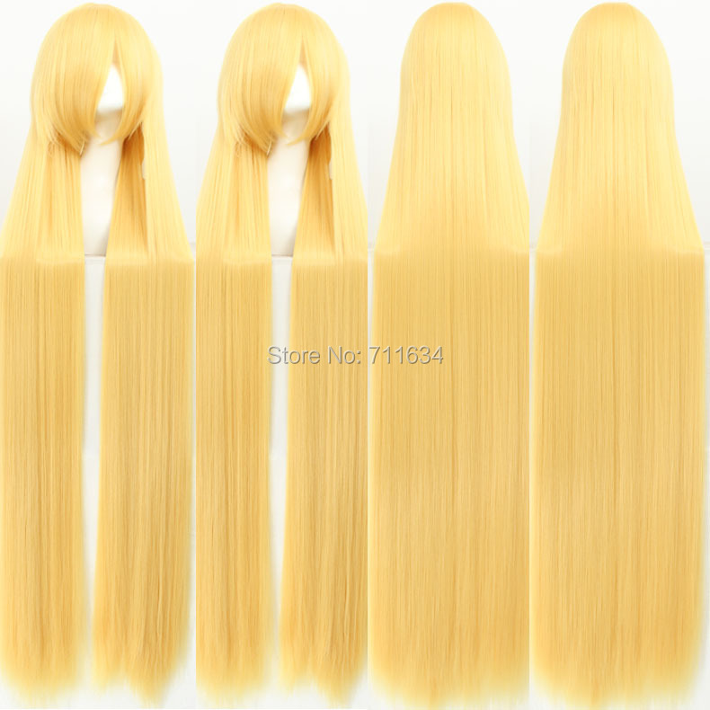 150cm 59inches Golden Long Straight синтетический Cosplay Costume Wig,Party Halloween Wig
