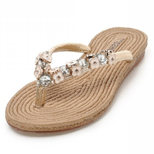 2015 summer beach shoes low price Flip Flops high quality woman flat sandals crystal ladies beach Flip Flops Free shipping