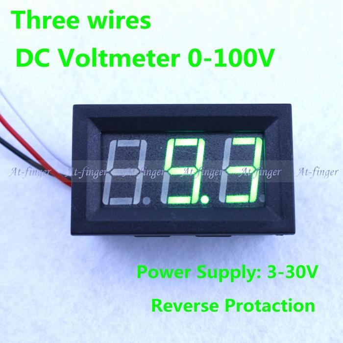 Green led display DC 0-99.9V digital volt Amp Panel Meter voltage meter  DC 0-30V power supply voltmeter<br><br>Aliexpress