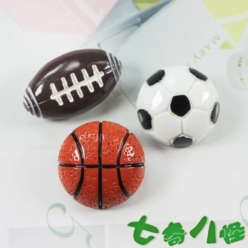 (10 pieces/lot) refrigerator stickers fridge magnets resin basketball football educational toys home decoration(China (Mainland))