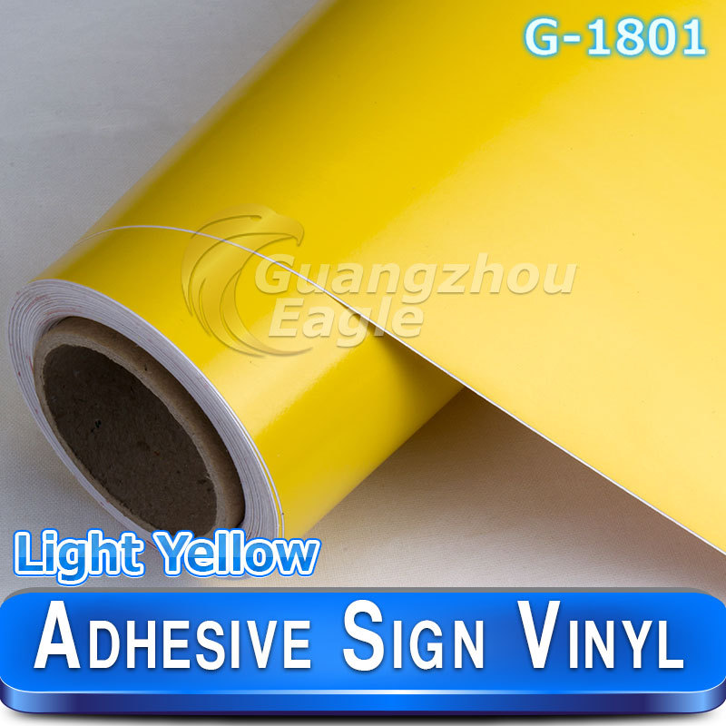 New Glossy Light Yellow Banner Cutter Sign plotter car decals vinyl rolls 1.06*33 m(China (Mainland))