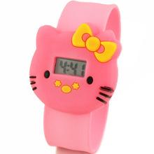 6 colores nueva venta caliente de la marca electrónica niños digitales Led del silicón del gatito de la historieta encantadora del reloj con caja de reloj W157701