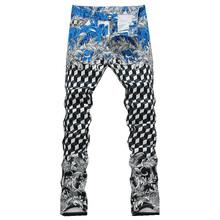 Men's new geometric print jeans Male fashion slim elastic thin denim pants Long trousers Free shipping(China (Mainland))