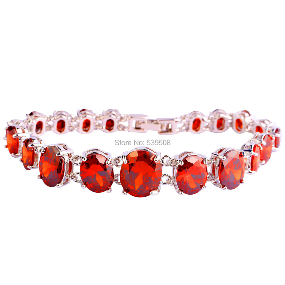 2016 New Fashion Saucy Oval Cut Red Garnet Silver Bracelets Nice Jewelry Gift Wholesale 17.5 CM Free Shipping(China (Mainland))