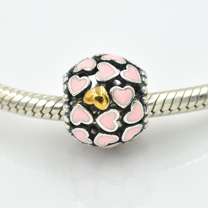 HOT SALE Fits Pandora Charms Bracelet Anthentic 925 Sterling Silver Beads Enamel Heart Charm with Gold DIY Jewelry Making(China (Mainland))