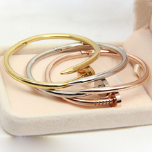 Fashion Brand Jewelry 2 Kinds Of Size Men And Women Love Bracelets Bangles 316L Stainless Steel Nails Bracelet
