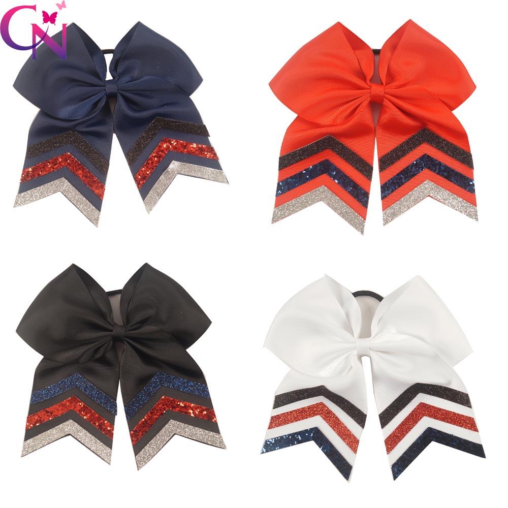 "20 Pcs/lot 7"" High Quality Handmade Ribbon Cheer Bow For Girls Kids Boutique Glitter Cheerleading Hair Bow Children Headwear(China (Mainland))"