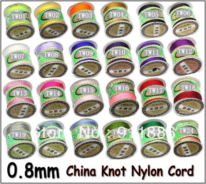 Free Shipping,12Pcs/Lot 0.8MM Multi Colour Chinese Knot Beading Nylon Cord Rope Thread For Shamballa Bracelets Necklace Making(China (Mainland))