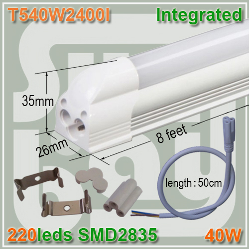 4pcs/lot LED tube T5 2400mm 240cm 2.4M 8ft 40W SMD2835 integration tube light lamp holder two years warranty good quality(China (Mainland))