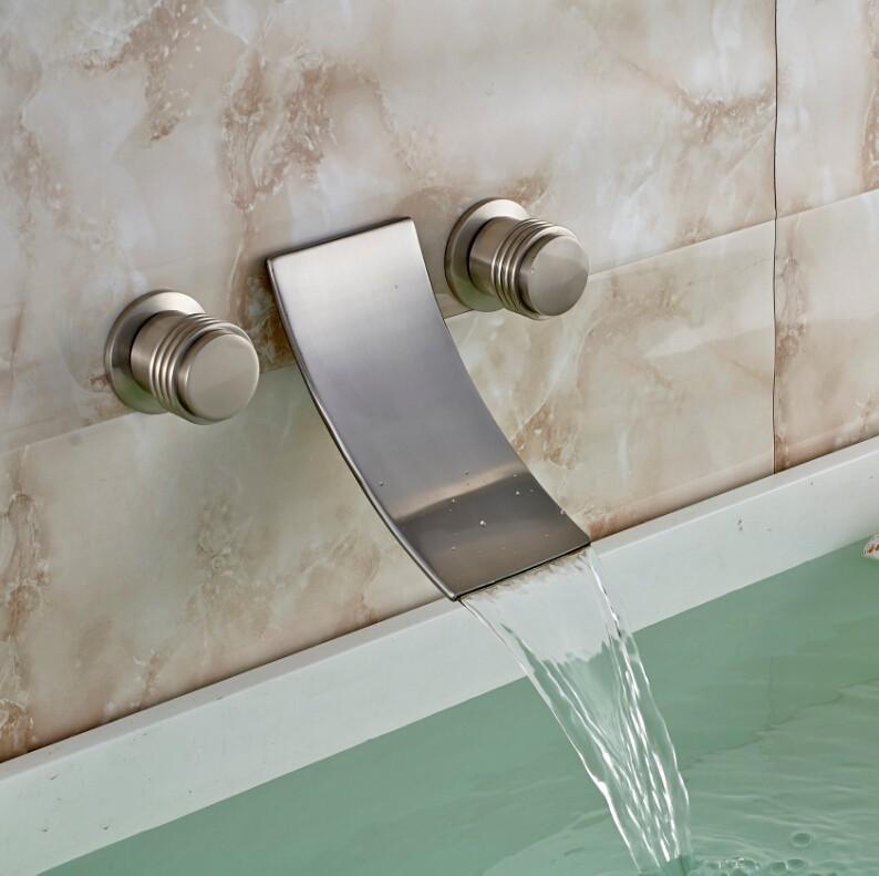 Купить Настенные Двойной Ручки Водопад Ванной Бассейна Кран Матовый Никель Смеситель для раковины Краны