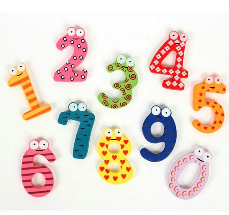 1set Gift Set 10 Number Wooden Fridge Magnet Education Learn Cute Kid Baby Toy Worldwide Free Shipping(China (Mainland))