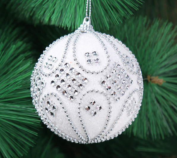 New arrival Free shipping 6pcs/lot 8cm Christmas tree decoration white quality foam/ paillette christmas ball 16g()