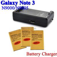 3 x 4200mAh Gold Battery + USB Wall battery charger For Samsung Galaxy Note 3 III N9000 N9005 N900A Bateria Batterij Accumulator