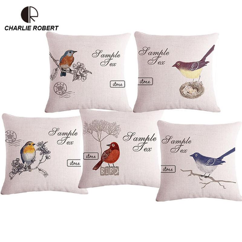 """17""""Joyous Linen Animal bird Pillow Cushion / Decorative sofa Cushions Home Decor Throw Pillow With No Core Emoji Smileys HH971(China (Mainland))"""