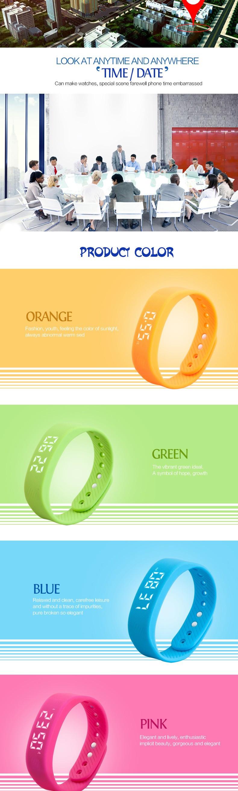 Новый Смарт-Браслет 3D Шагомер Датчика Авто Дата LED дисплей Пять Цветов Женщины Мужчины Спорт Рекордное количество шагов наручные часы