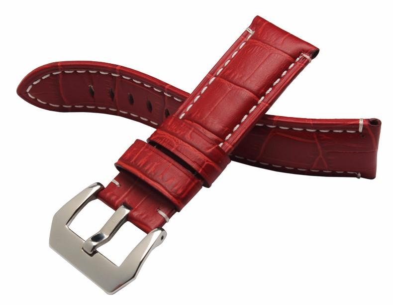 24 мм Кожаный ремешок Orange Baizi Мэй красный натуральная кожа ремень удобно носить Толстые текстура Подходит для мужчин и женщины