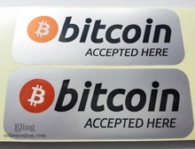 Buy 800pcs/lot 14.5x5.5cm BITCOIN ACCEPTED HERE Self-adhesive silver PET label sticker waterproof, Item No. FS02 for $120.00 in AliExpress store