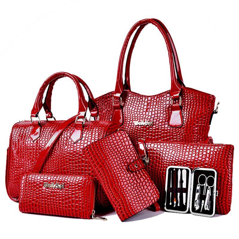 New Designer Women Bag Tote All-match Fashion PU Leather Bag Crocodile Pattern Messenger Bag 6 Pcs/Set 6 Colors Bolsas YB40-340<br><br>Aliexpress