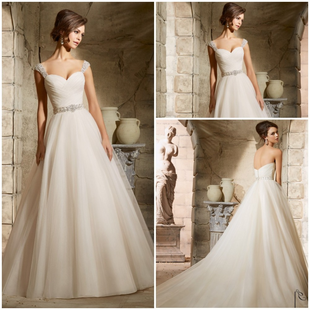 Removable Straps Elegant Belt Beaded Sexy Wedding Dress Bride Dresses 2015 New Arrival Summer Style(China (Mainland))