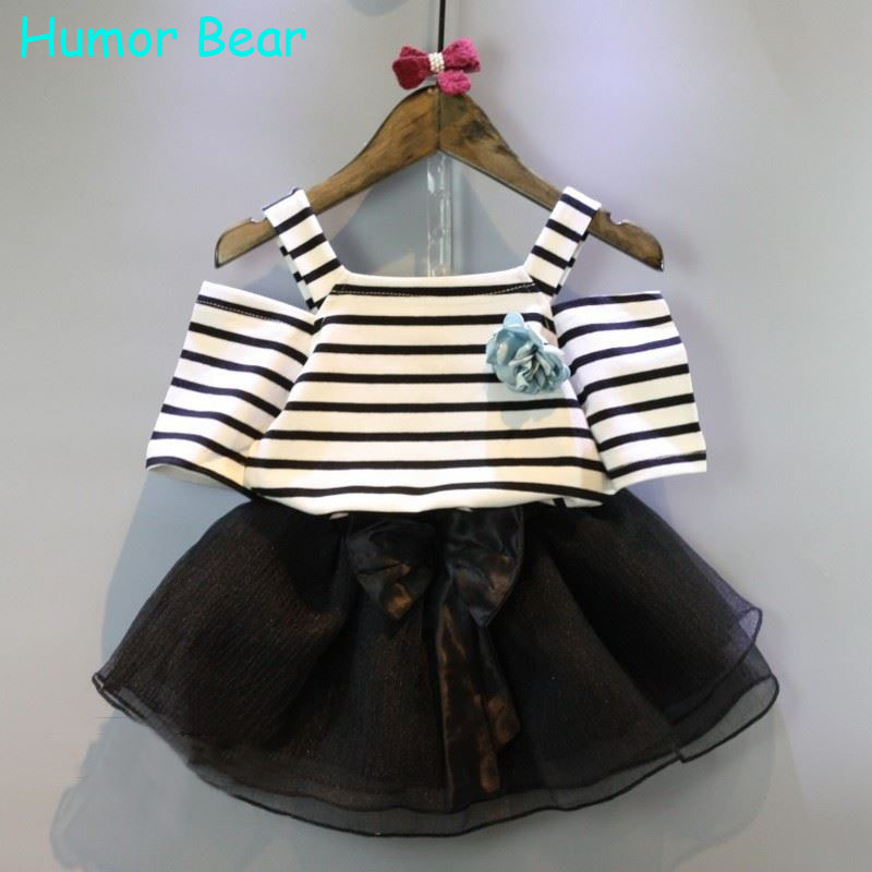 Humor Bear NEW Summer baby Clothing sets girls clothes Stripe T shirt + skirt 2PC suits set - official store