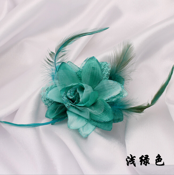 Hot Sale Fabrics Rose Brooch With Shinning Gold Powder And Feather 9 Color In Stock Cloth Hat Decoration Fine Jewelry(China (Mainland))