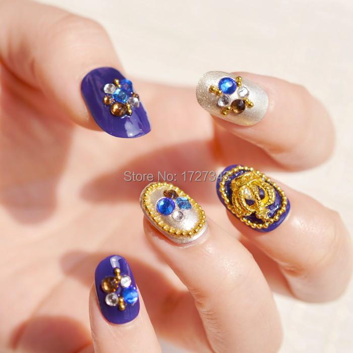 Bride Handmade Products False Fingernails Nail strips Sapphire Blue Crown Round Head Brief Paragraph(China (Mainland))