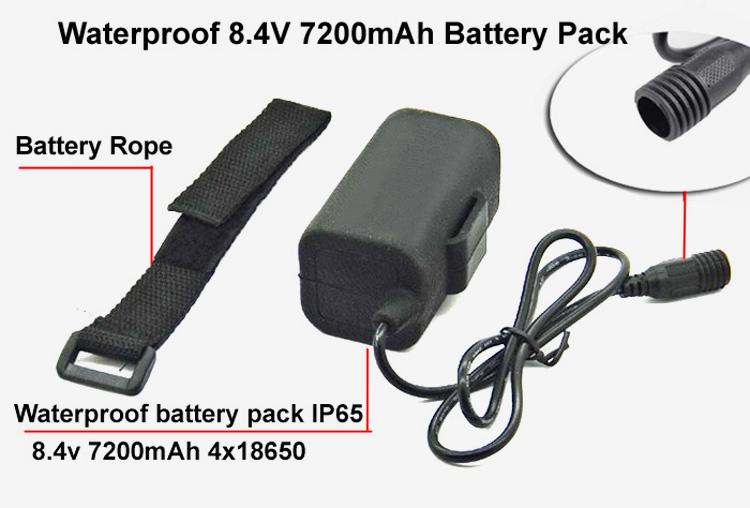 Waterproof 8.4V 7200mah 4x18650 Battery Pack For Led Bike Lights & Headlamp(China (Mainland))