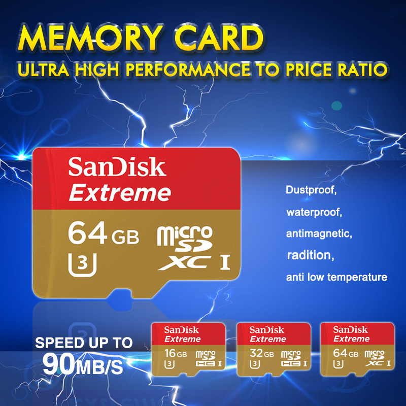 100% original genuine SanDisk Extreme New Version U3 90MB/S 16gb 32gb 64gb micro SD TF with adapter to SD Card high speed(China (Mainland))