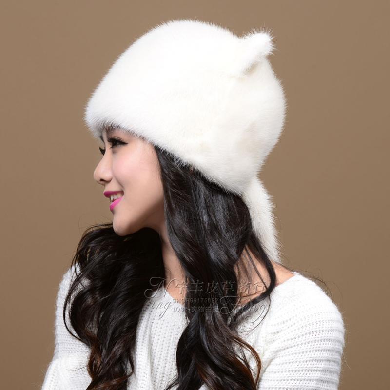 Female mink fur hat hat cute Orecchiette whole mink fur ear cap winter hat mink hat(China (Mainland))