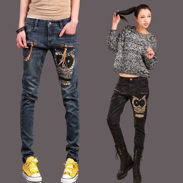 Womens owl pants female skinny jeans womens plus size pencil pants long trousers Free shipping  DF-128DОдежда и ак�е��уары<br><br><br>Aliexpress