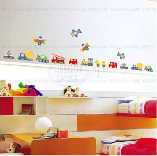 kid cartoon Cars and planes Lovely Window Handdrawing Decal Vinyl Wall Sticker PVC Decor Decoration LD920(China (Mainland))