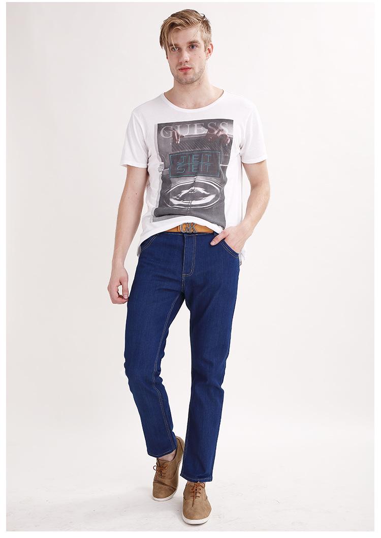 Men Four seasons wear simple jeans mens high quality fashion casual male denim trousers blue dark blue Straight pants men's