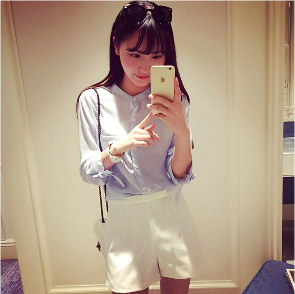 Blusas Femininas 2015 New Fashion Summer Chiffon Shirts Blue White Three Quarter Sleeve Blouses Women's Collar Cute Bow Tops(China (Mainland))