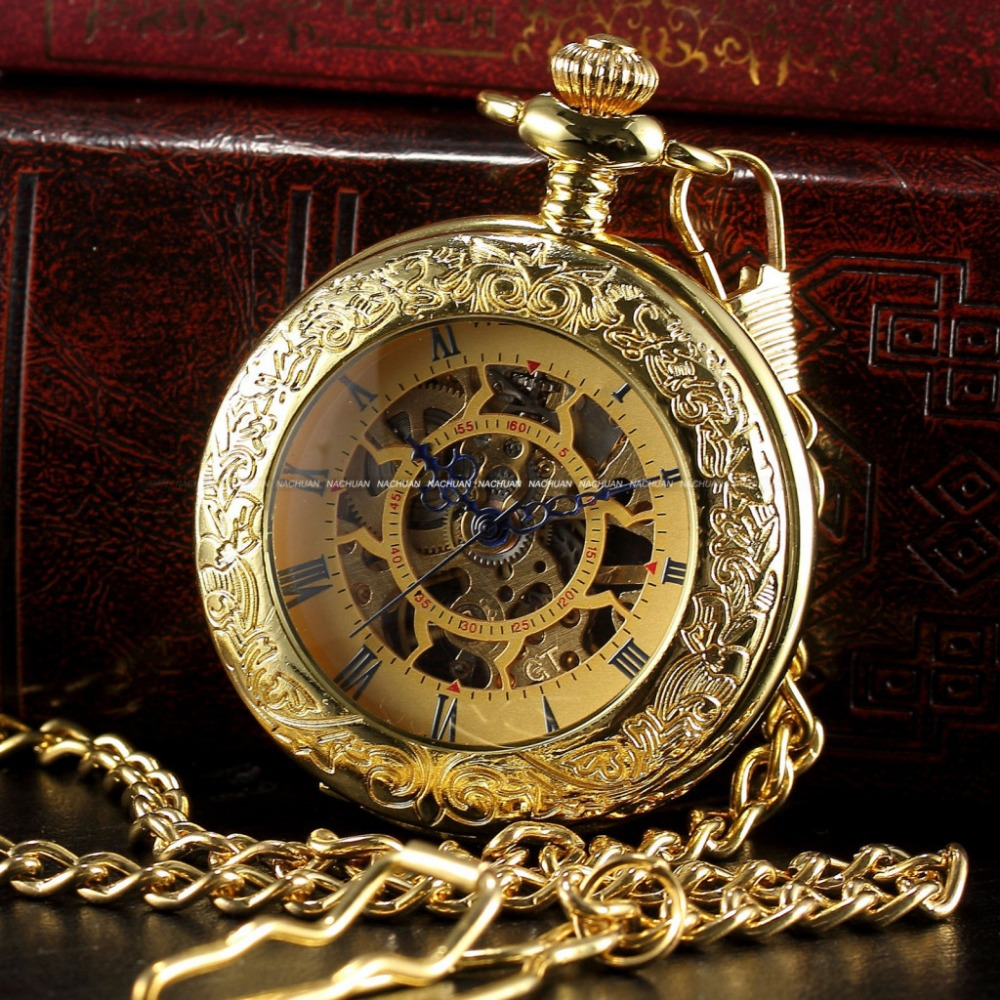 Гаджет  Steampunk Watch Skeleton Golden Luxury Male Clock  Mechanical Copper Open Face Retro Vintage Gift Pendant Pocket Watch / WPK166 None Часы