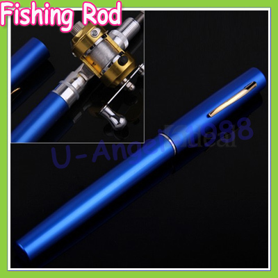 Telescopic Mini Fishing Rod Pen Shape Portable Pocket Aluminum Alloy Fishing Fish Spinning Rod Pole with Reel +free shipping