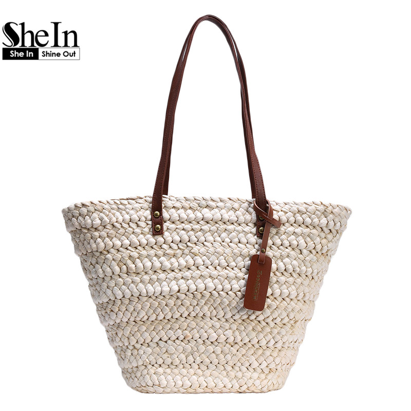 SheIn Ladies New Fashion High Street Handbags Womens Casual Beach Wear White Contrast Handle Straw Large Tote Bag(China (Mainland))