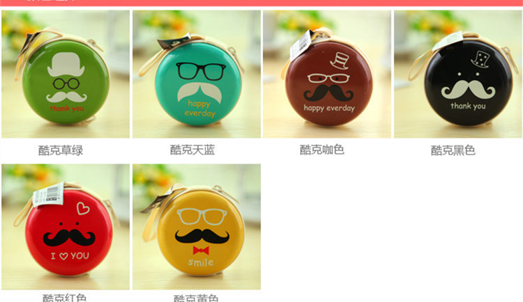 2015 Fashion beard printing, metal Zero wallet Headphone storage box Home Goods Storage Bags W1008(China (Mainland))