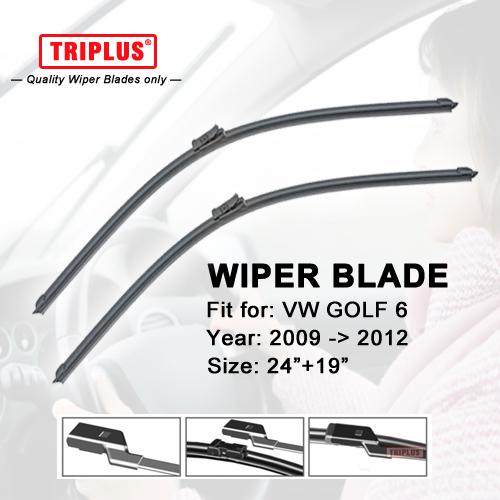 Wiper Blade for VW GOLF 6 (2009-2012) 1set 24+19,Flat Aero Beam Windscreen Wipers Frameless Windshield Soft Wiper Blades MK5<br><br>Aliexpress