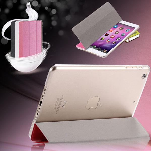 For iPad Air 2/6 Slim Three Fold Silk Smart Wake Clear Leather Flip Case For Apple ipad mini 1 2 Retina 3 Luxury Stand Cover(China (Mainland))