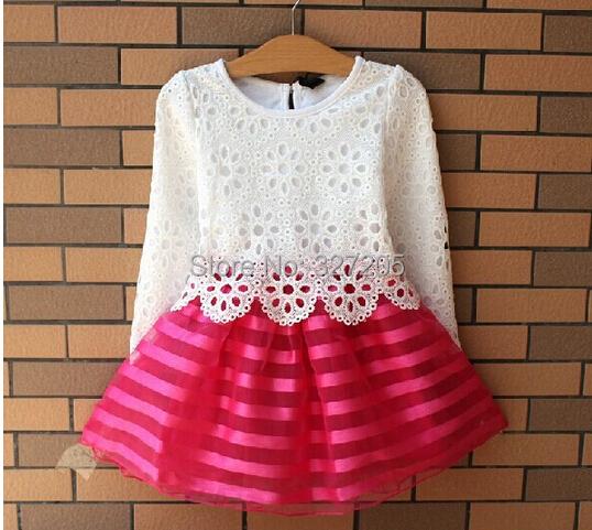 2015 new girl dress children girls's clothing set spring summer long sleeve striped dresses white shirt new year gift(China (Mainland))