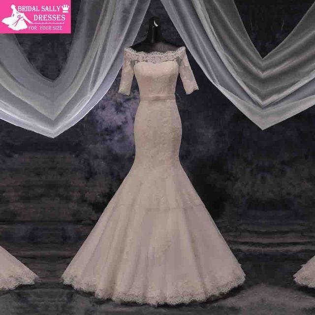 100% реальная русалка свадебные платья мантия де свадебная отбортовывать створки ...