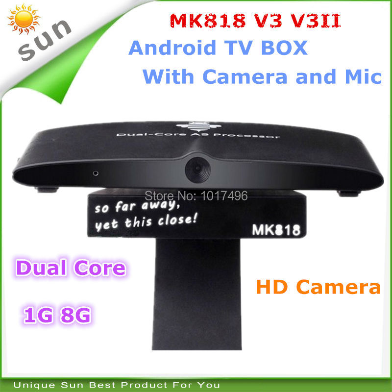Best android smart tv box camera dual core android tv box webcam for game music video support skype facebook twitter free ship(China (Mainland))
