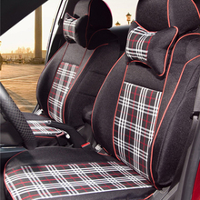 Cover seats for Toyota Sienna car seat cover tartan fabric front & rear seat covers car styling seat cushion & pillow cover set