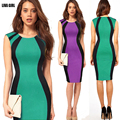 Abocid NEW Livagirl Summer Dress 2016 Women Party Fashion Sexy Green Red Violet Splice Type Sleeveless