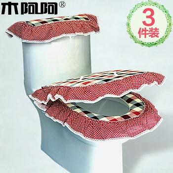 Wood well toilet mat piece set zuopianqi toilet seat water tank set toilet cover set piece set
