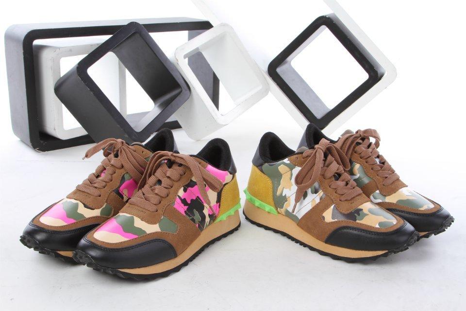 fashionville free ship U027 40 41 2 colors genuine leather camo studs sneakers