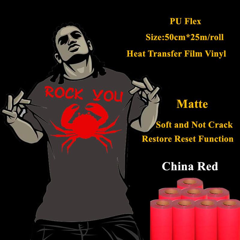 PU Flex heat transfer vinyl for clothing China red matte thermel press film for t shirt heat transfer film vinyl 50cm*25m/roll(China (Mainland))