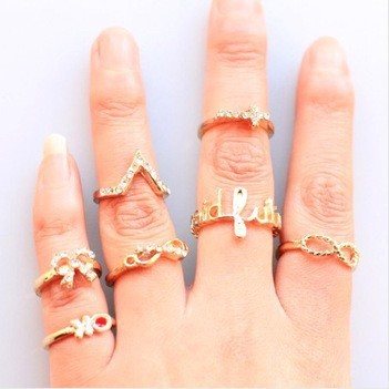 New premium ring The cross bow Infiniti infinite set of seven uncle tide female S1121 ring(China (Mainland))