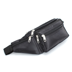 2014 New Men Boy Black Zipper Microfibre Bum Bag Fanny Pack Travel Money Waist Pocket Belt Bags