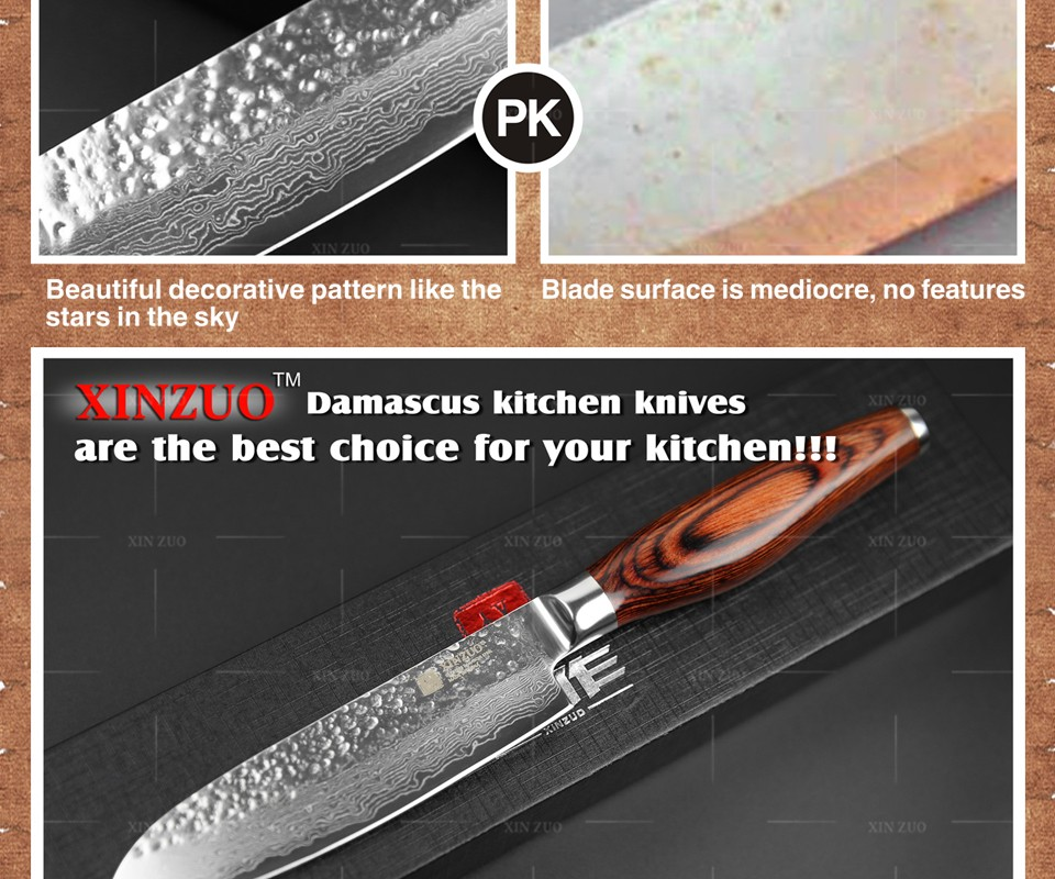 "Buy XINZUO 5 "" inch japanese 73 layers chef knife Japanese Damascus kitchen knife VG10 santoku knife Color wood handle free shipping cheap"